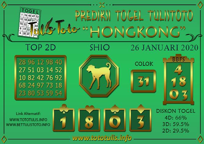 Prediksi Togel HONGKONG TULISTOTO 26 JANUARI 2020