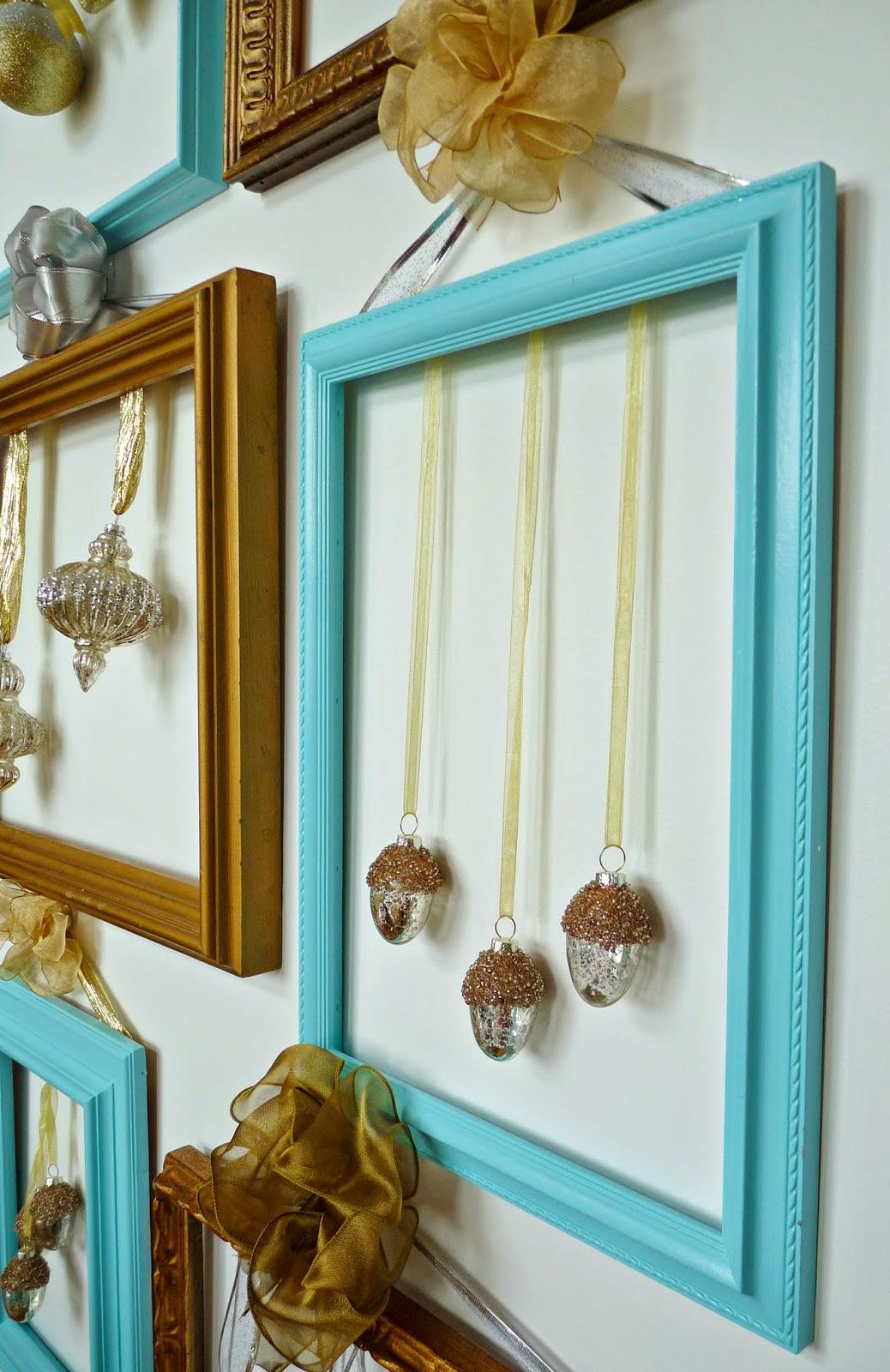 Christmas ornaments displayed on frame