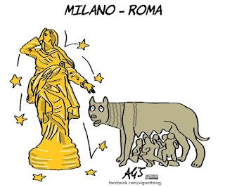milano, roma, sala, raggi, comuni, inchieste, vignetta, satira