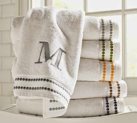 pottery barn monogramed towels
