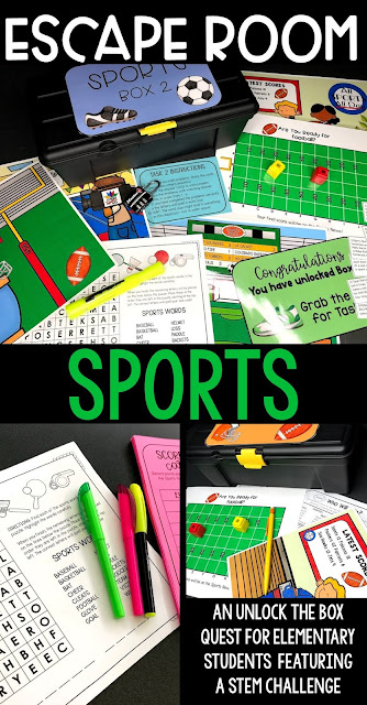 An Escape Room for March Madness or any time. Take advantage of the interest your elementary students have in basketball in March or football in the fall and try this fun set of tasks with boxes to unlock! #STEM  #escaperoom
