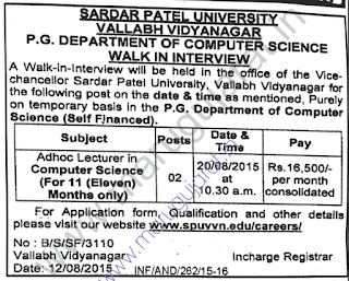 Sardar Patel University (SPU) Recruitment for Adhoc
