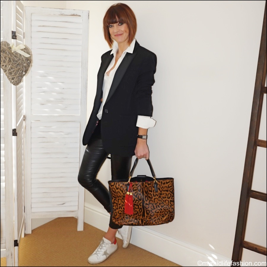 my midlife fashion, Isabel Marant boyfriend tuxedo blazer, the white company silk shirt, Brian Atwood leopard print tote, Isabel Marant Etoile faux leather leggings, golden goose superstar low top trainers