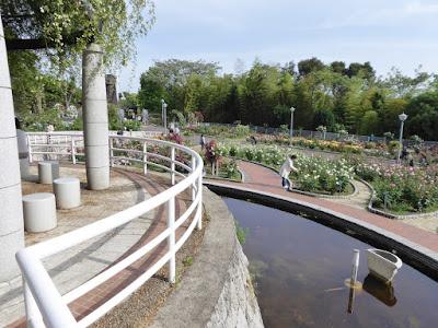 花博記念公園鶴見緑地のバラ園 水場