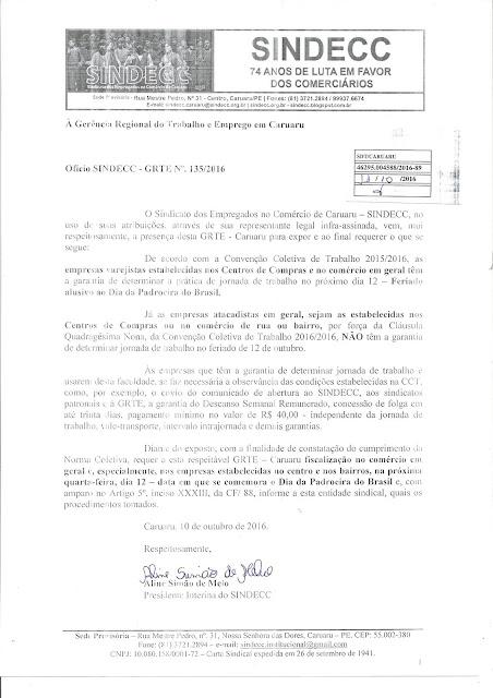 Funcionamento do Comércio para 12 de outubro,  Dia da Padroeira do Brasil.