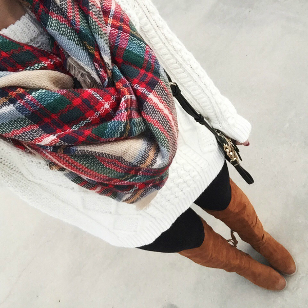 blanket scarf, over the knee boots