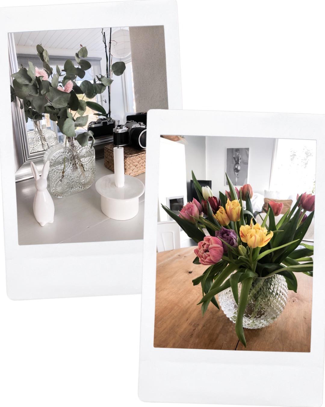 Easter decorations and tulip bouquet - Pääsiäiskoristeet ja tulppaanikimppu