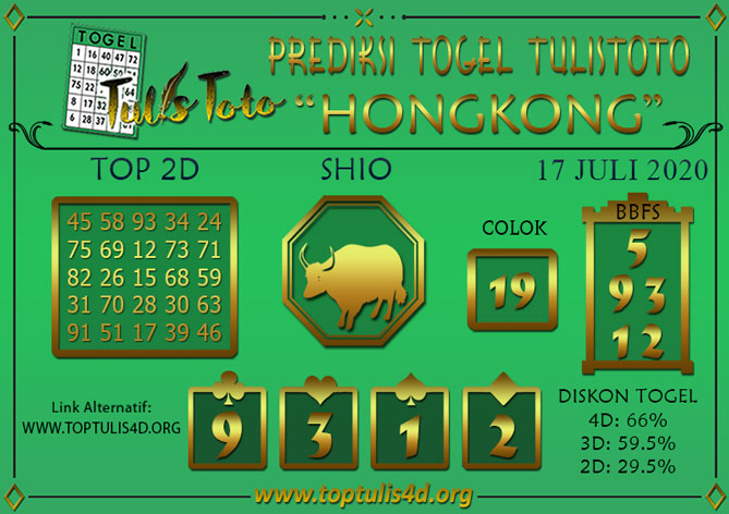 Prediksi Togel HONGKONG TULISTOTO 17 JULI 2020