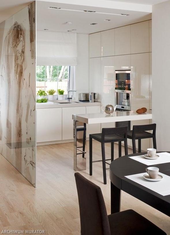 Decora y disena cocina peque a moderna en color blanco for Desayunadores para cocinas pequenas