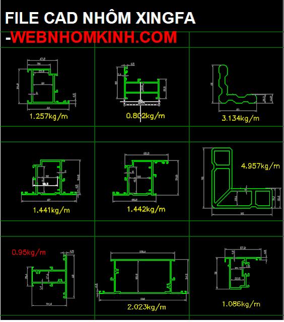 Mặt cắt nhôm Xingfa (Bản CAD)