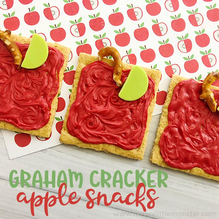 Graham cracker apple snacks - a fun back to school snack idea. These fun snacks for kids make a great back to school activity. Apple activities for kids  also make good a is for apple activities for preschoolers.
