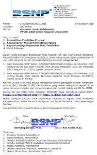 Download Kisi-Kisi UN dan USBN 2018/2019 Beserta Surat Edaran dan SK BSNP
