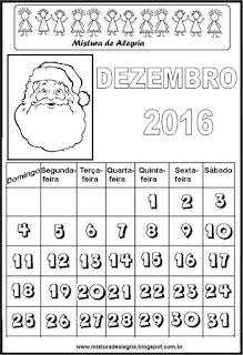 Calendário de 2016 - dezembro