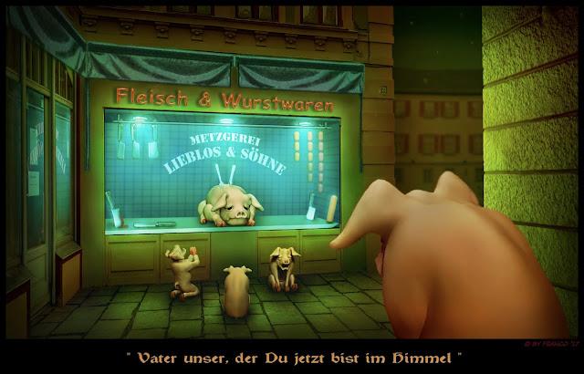 Cartoon: Schweine beten das Vaterunser
