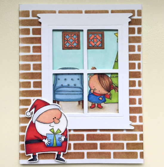 Birdie Brown Santa's Elves and Lisa Johnson Designs Make Yourself at Home stamp sets, Birdie Brown Jingle All the Way stamp set and Die-namics, and Small Brick Wall stencil - Kathy Straw #mftstamps