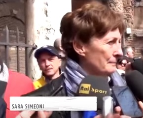 Simeoni in 2013 at the funeral of her friend, the Italian sprint champion Pietro Mennea