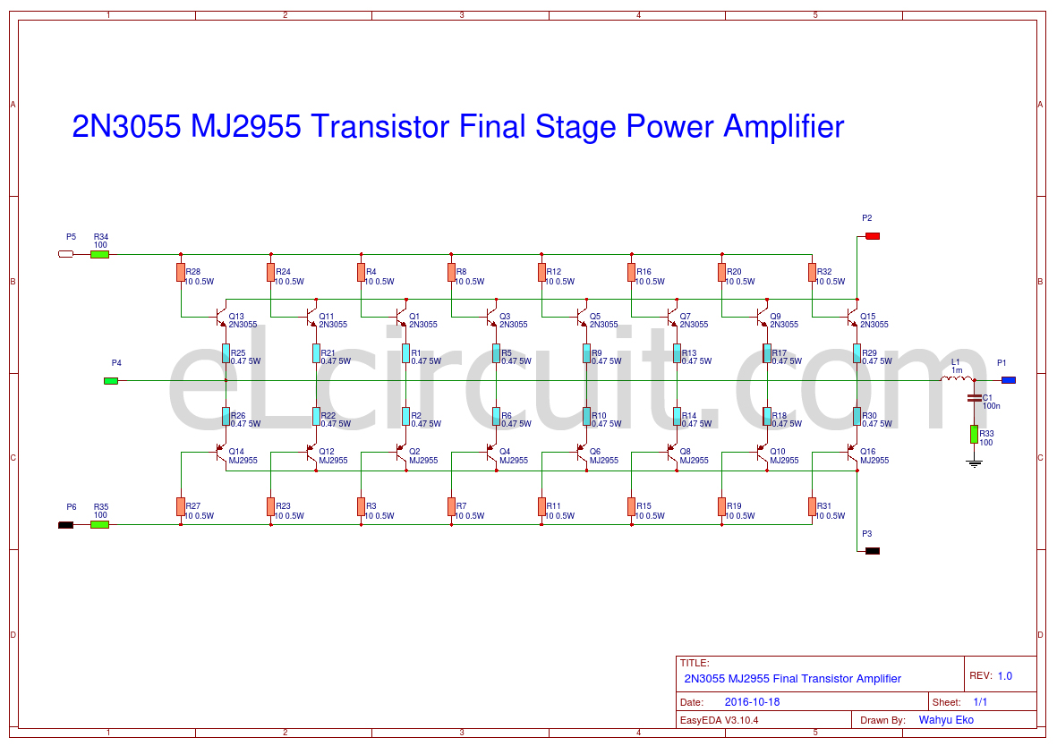 Transistor Wiring Diagram Deh P3700mp 2n3055 Mj2955 Booster Circuit Electronic