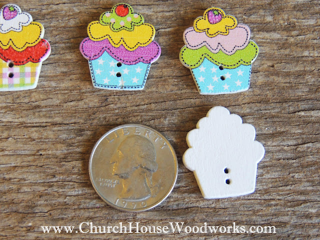 DIY Sewing Cupcake Dessert Sweets Kawaii Buttons by Church House Woodworks
