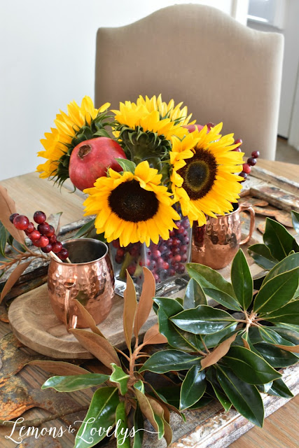 fruit and flower centerpiece for fall