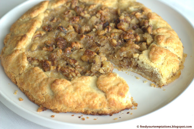 walnut galette with custard, flavorful and flaky pie crust