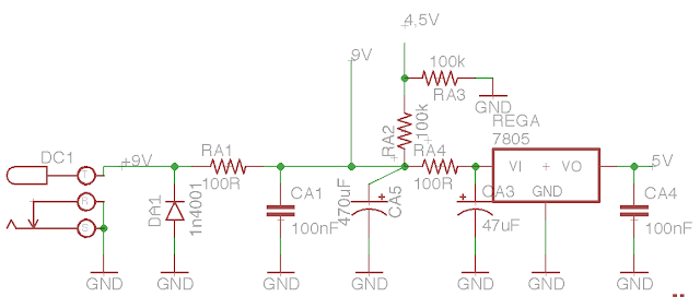 DIY tremolo with tap tempo schematic power supply