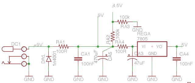 DIY tremolo with tap tempo schematic power supply