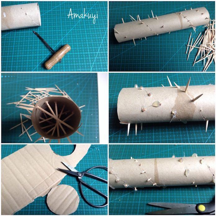 Paso a paso en imágenes para hacer un palo de lluvia con cartón
