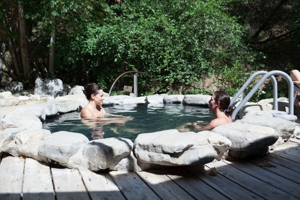 outdoor hot spring pool at Tassajara Zen Mountain Center in Carmel Valley California