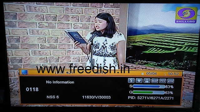 DD Shillong (Shillong Doordarshan Regional Channel) added on DD Freedish