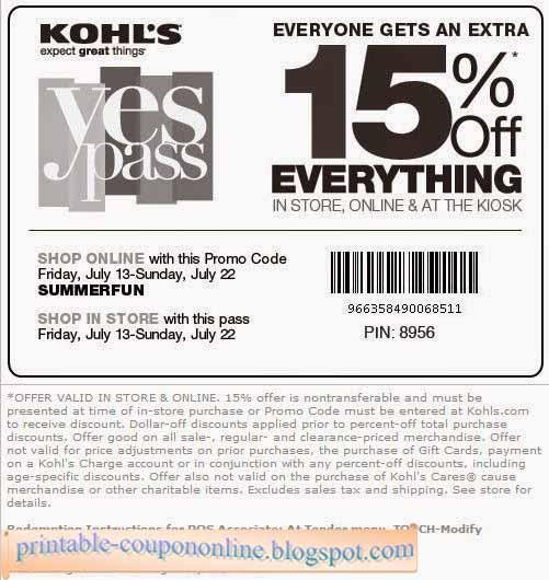 Kohls printable coupons 2018 august
