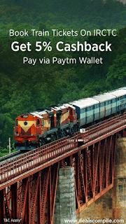 IRCTC E-Tickets 5% Cashback -  Paytm Wallet