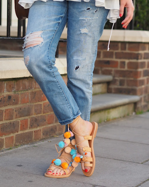 Iris gladiator sandals, pom pom sandals and boyfriend jeans