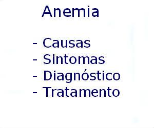 Anemia causas sintomas diagnóstico tratamento prevenção riscos complicações