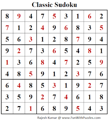 Solution of Classic Sudoku Puzzle (Fun With Sudoku #271)