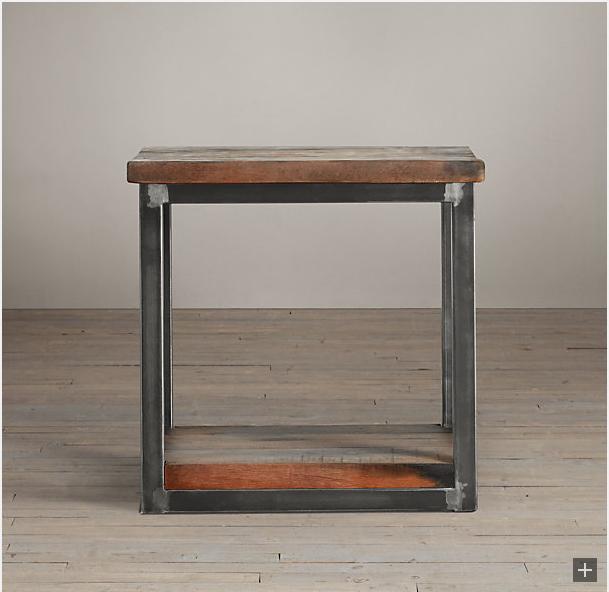 Restoration Hardware Salvage Boatwood Side Table Decor