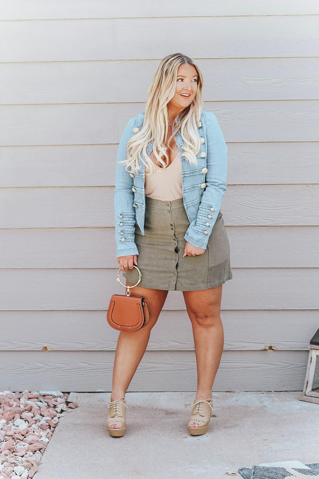 Military denim Jacket styled by popular Colorado fashion blogger, Delayna Denaye
