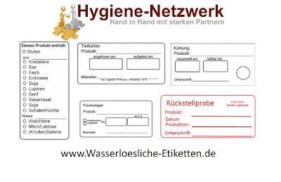 Möglichkeiten im Standardsortiment der wasserlöslichen Etiketten
