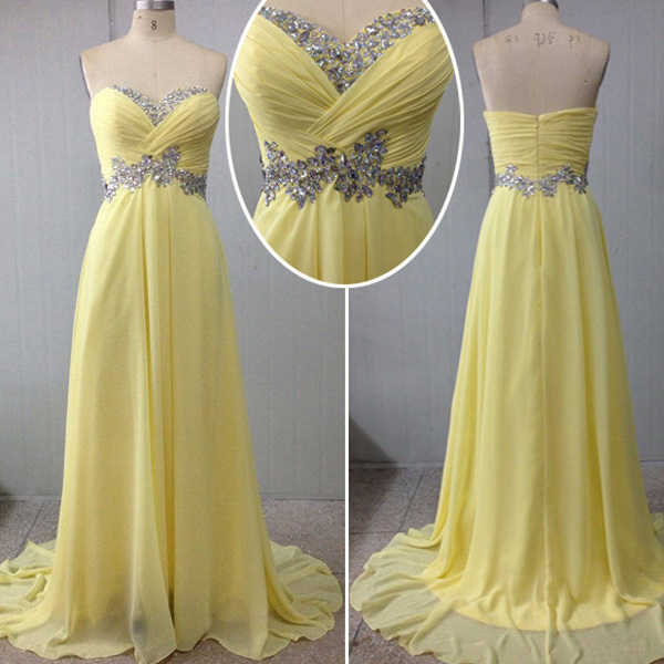 Sweetheart Sweep/Brush Train Chiffon Modest Prom Dresses Evening Dresses #SP8488