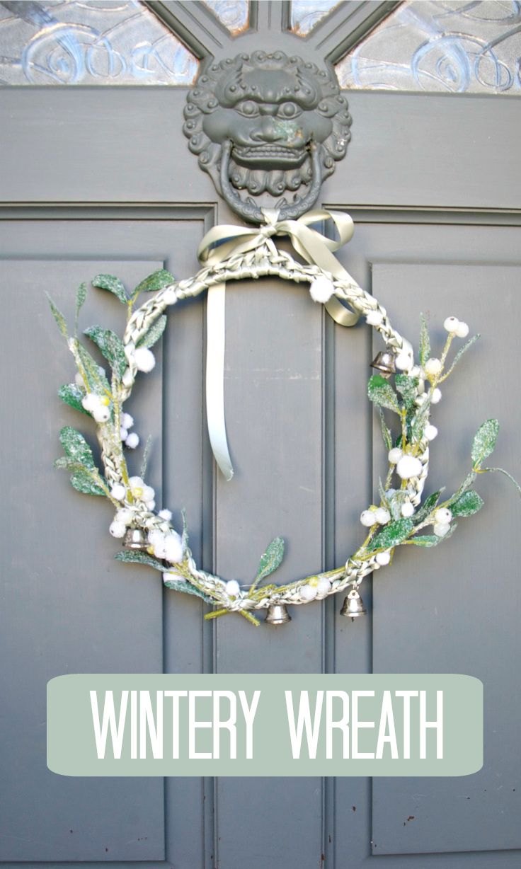 Make a simple wintery wreath, using wire, ribbon and crochet.