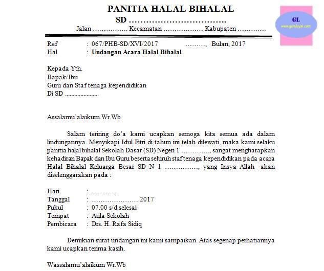 Surat Undangan Acara Halal Bihalal Sekolah Guru Loyal