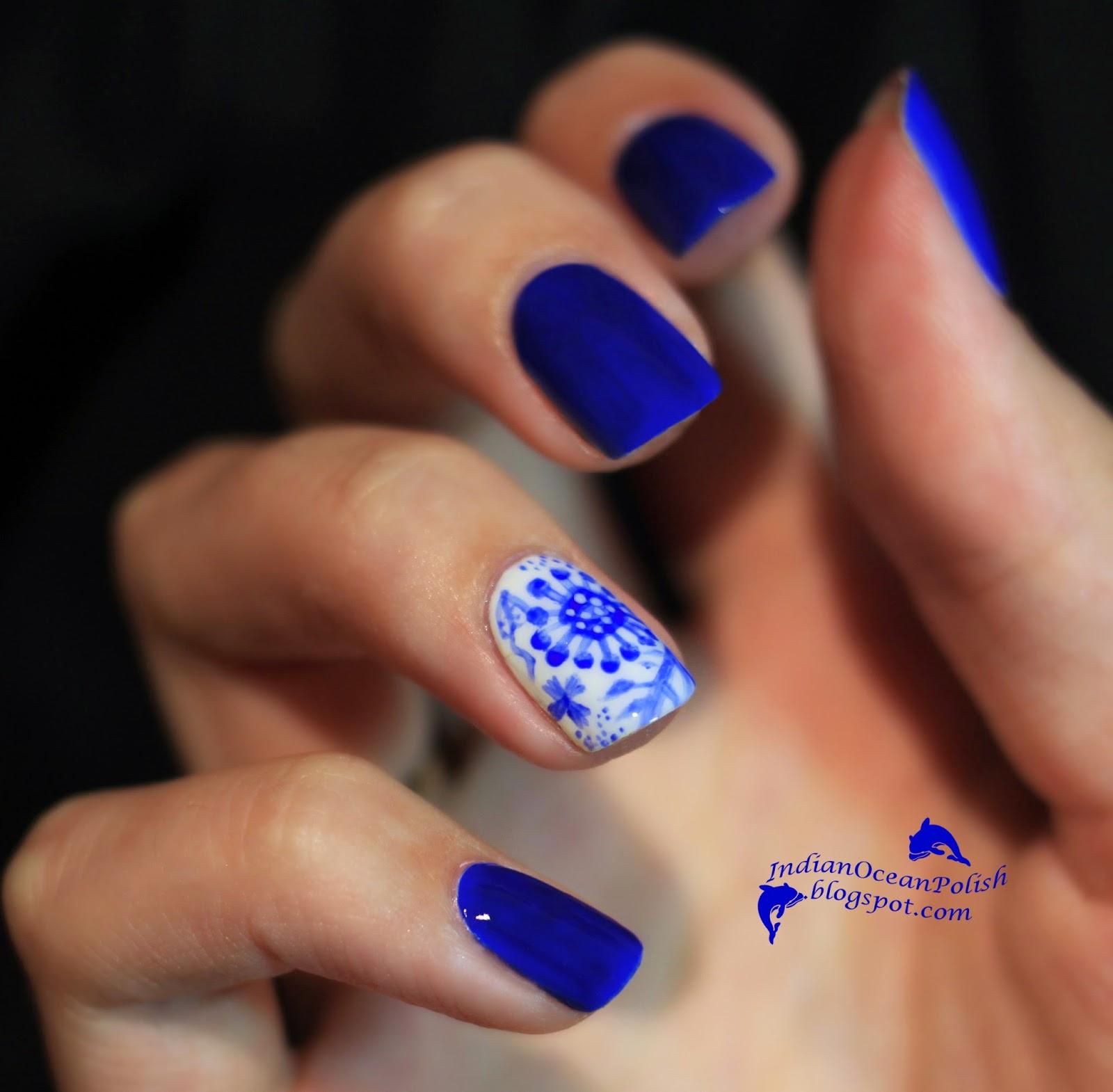 Hand Painted Nail Art Designs: Indian Ocean Polish: China Porcelain Nails :