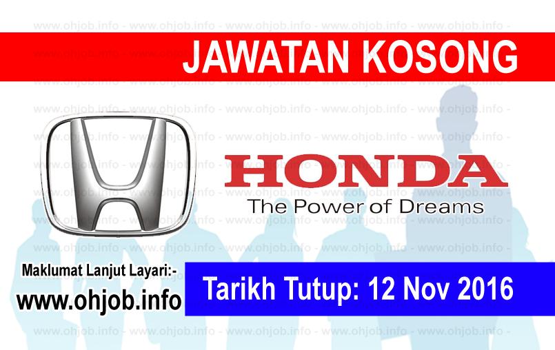 Jawatan Kerja Kosong Honda Malaysia Sdn Bhd logo www.ohjob.info november 2016