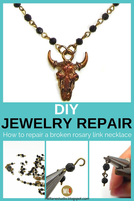 How to repair a broken rosary link necklace project sheet