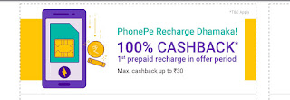 PhonePe 100% Cashback, Free Recharge Offer, Rs 30 Free Recharge, Free Recharge Tricks