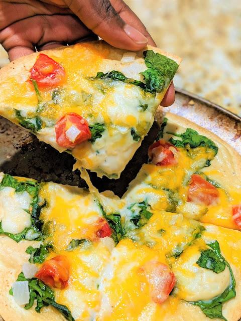 Vegetarian Spinach Tomato Tortilla Pizza