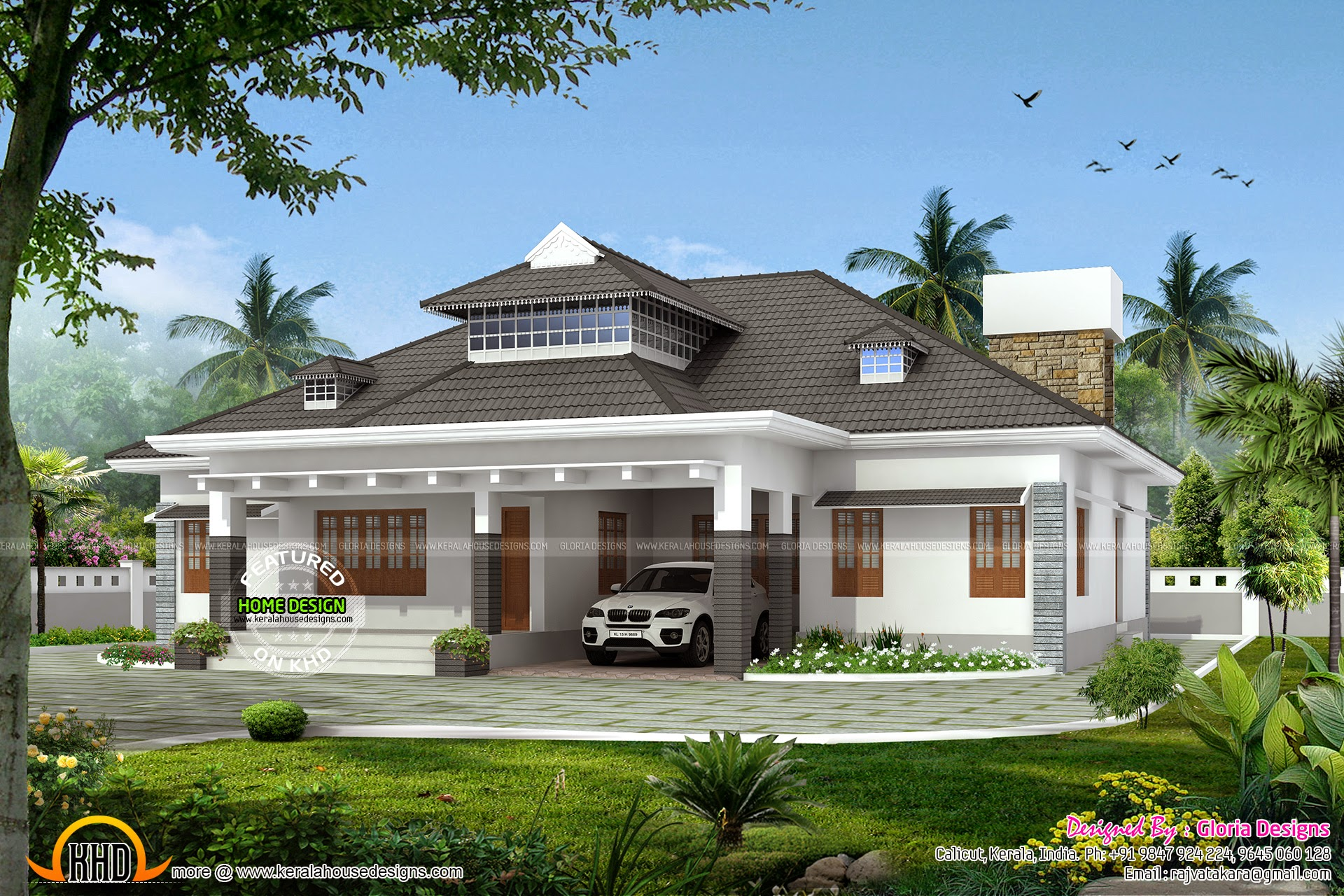 Elegant single storied house kerala home design and for Elegant farmhouse plans