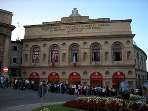 Queues at the entrance to the Arena Sferisterio, which hosts a month-long summer opera festival in Macerata