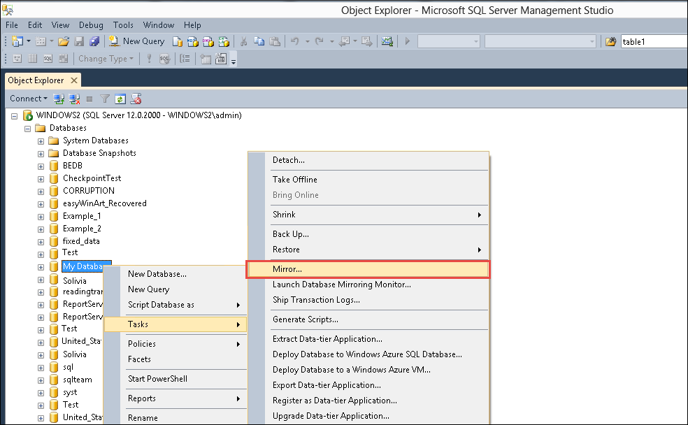 how to create database in sql server 2012