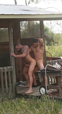 gay public sex, two muscle men fuck on the porch of a trashy house outdoors, outside, toned, cock, dick, ass, bareback, Robot Jack