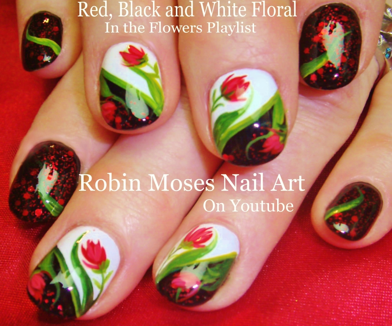 Nail Art by Robin Moses: DIY Fall Nails! Red flowers on black and ...